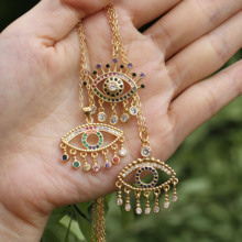 New Design Turkish Devil's Eye Pendant Necklace Trendy Dangle Tassel Cubic Zircon Pendants Chain Fashion Evil Eyes Women Jewelry