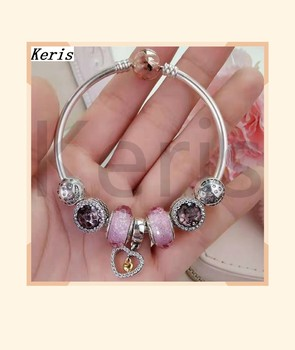 High Quality Reproduction 1:1 100% Silver Pink Glaze Charm Pendant Beads Bracelet Free Delivery