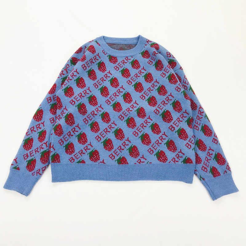 일본 모리 걸 딸기 자카드 o 넥 풀오버 루즈 한 스웨터 학생 소녀 귀여운 로리타 스웨터 코트 여성 탑 가을 겨울