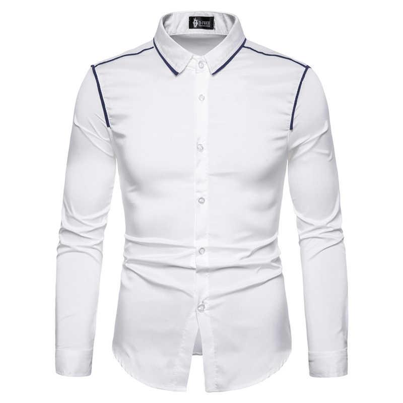 Koszula męska z pojedynczym biustem męska bluzka z długim rękawem jednokolorowa męska koszulka z Tuxedo męskie koreańskie modne koszule męskie XXL