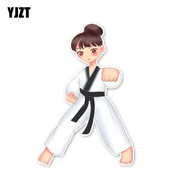 YJZT 13.7*9.1CM Interesting Girl Martial Arts Accessories Car Stickers Bumper Car Window 11A-1978 image