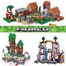 Совместимый с Legoinglys Черный Дракон вторгается в деревню фигурки горный механизм пещера мой playmobil мир строительные блоки игрушки