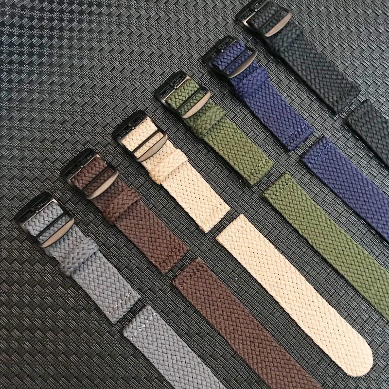 20mm 22mm Black Navy Solid Color For Perlon Woven Nylon Watchbands Bracelet Fabric Woven Watch Strap Band Black Buckle Belt