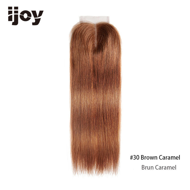 Image 3 - Brazilian Closure With Color Human Hair 4x4 Lace Blonde Closure Red 8 20 Non Remy 99J Closure Straight Hair Extension IJOYClosures   -