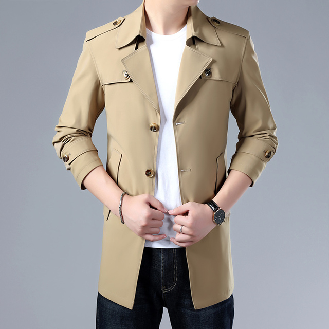 Thoshine Brand Spring Autumn Men Trench Coats Superior Quality Buttons Male Fashion Outerwear Jackets Windbreaker Plus Size 4XL 4