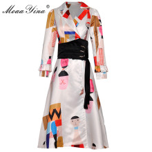 MoaaYina Fashion Designer Runway dress Spring Autumn Women Dress Long sleeve Cartoon Print belt Double-breasted Elegant Dresses cartoon print dress with belt