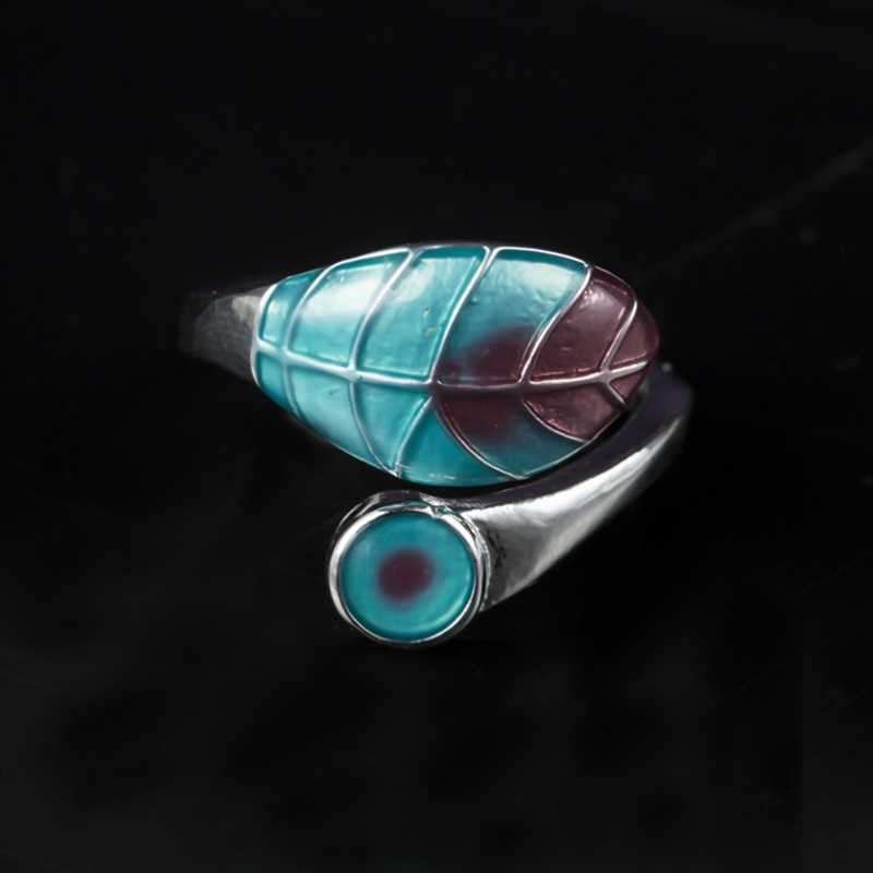 Anillo ajustable de hoja bonita para mujer, anillo de boda de Color plateado para mujer, anillo de ópalo de Fuego Azul blanco y verde