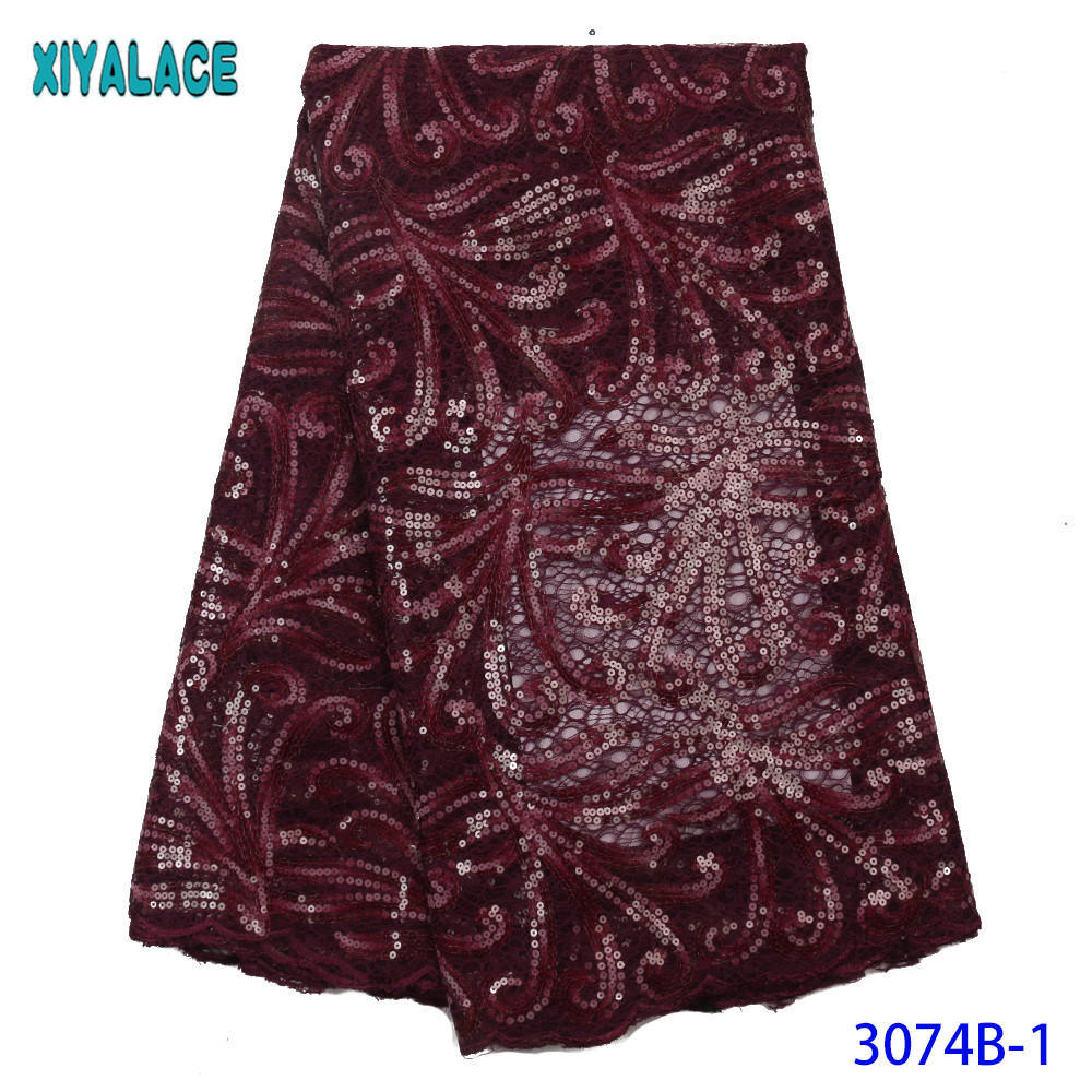 French African Lace Fabric Sequined Organza Tulle Laces Nigerian Mesh Lace For Wedding Dress Magenta KS3074B