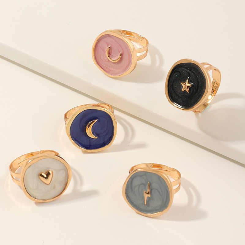 2020 חדש נקבה טבעות תכשיטי נשים אופנה חתונה סגסוגת טיפת שמן אהבת ירח ברק עגול אצבע טבעות מתנות עבור בנות המפלגה