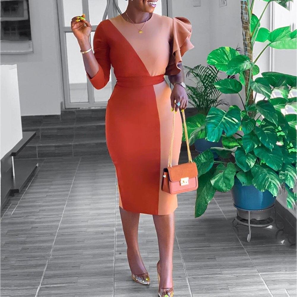 Женское облегающее платье с оборками, оранжевое платье в африканском стиле, элегантное офисное платье для ужина, вечеринки, большие размеры...