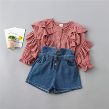 0-6 years high quality girl clothing set new autumn fashion tiered ruched solid shirt+ denim pant kid children clothing