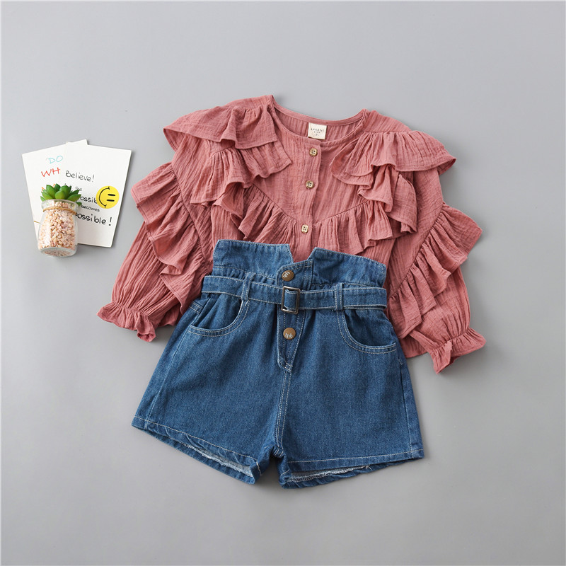 0-6 Years High Quality Girl Clothing Set 2019 New Autumn Fashion Tiered Ruched Solid Shirt + Denim Pant Kid Children Clothing