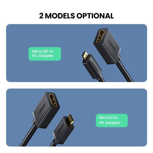 Ugreen Micro HDMI Adapter HD4K Micro Mini HDMI Male to HDMI Female Cable Connector Converter for Raspberry Pi 4 GoPro HDMI Micro 6