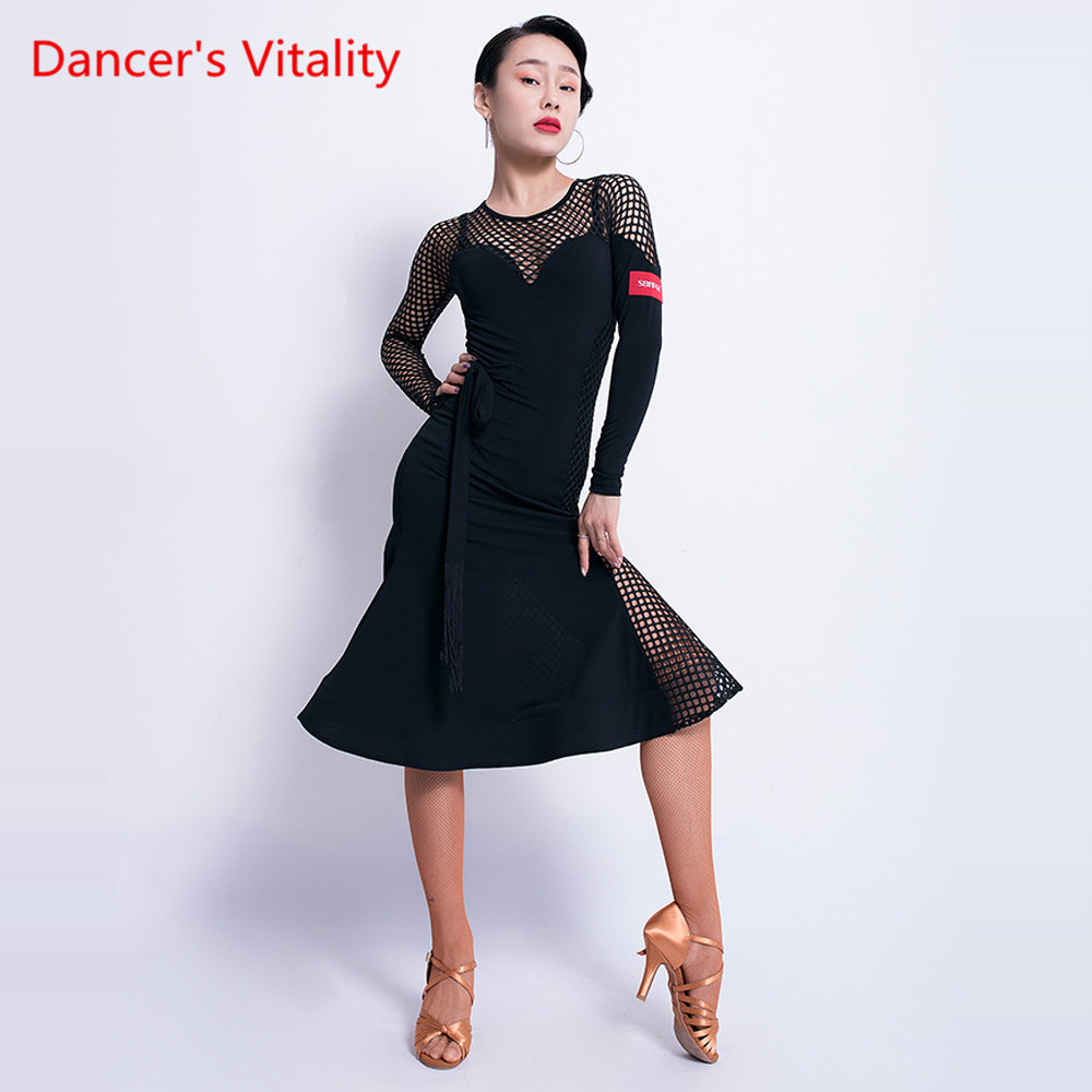 Fashion Latin Dance Dress Female New Adult Black Sexy Practice Dress Female Latin Competition/Performance Dance Clothes