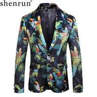 Shenrun hombres Blazer de alta calidad de moda colorida Impresión Digital novio chaqueta fiesta graduación cantante música Host escenario Show disfraces