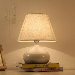Nordic lampa stołowa tkanina lampka nocna lampka nocna fabryka sprzedaż bezpośrednia sypialnia ciepła tkanina lampa stołowa osobowość ślubna Bedroamp