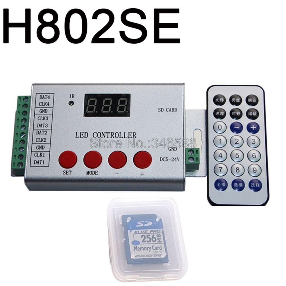 H802SE Pixel LED de contrôle avec 4 Ports lecteur 6144 Pixels prise en charge DMX512 WS2811 WS2812 APA102 etc télécommande sans fil IR