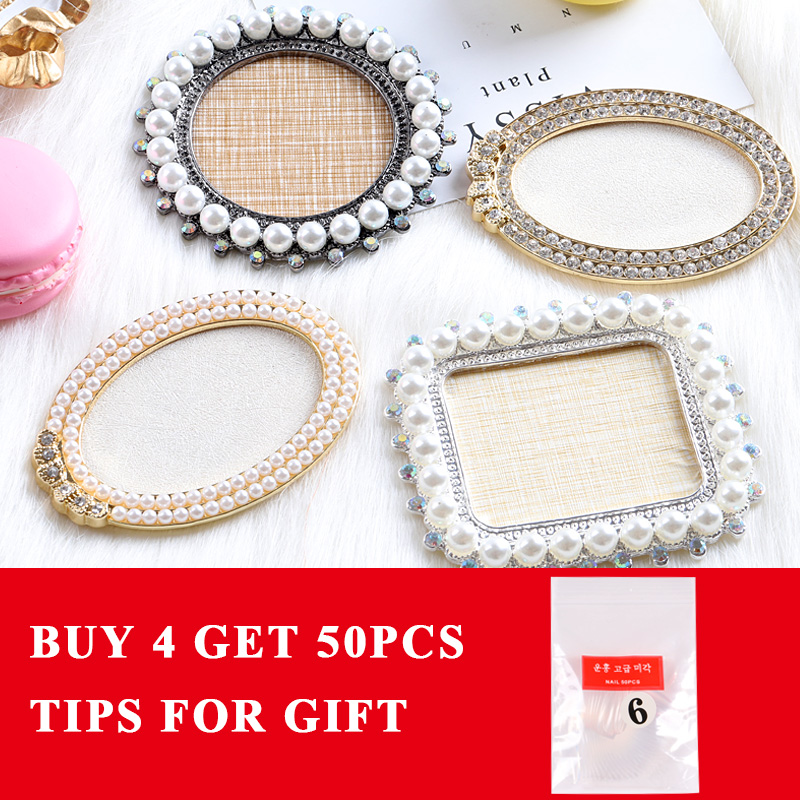 1Pcs/lot Round Oval Retro Rhinestones Pearl False Nail Art Plate Tips Practice Display Showing Stand Board Palette Nail Tools