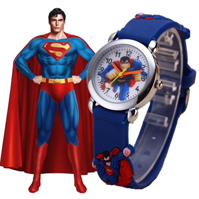 Пижамные комплекты с рисунком Супермена, часы для мальчиков, стильные сапоги на резиновой Детские кварцевые часы подарок Лидер продаж