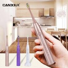 CANDOUR CD-5168 brosse à dents électrique sonique Rechargeable avec 16 remplacer la tête de brosse acheter un obtenir une brosse à dents sonique gratuite 15 Mode