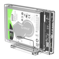 Orico 2.5 polegada transparente hdd caso usb 3.1 tipo c para sata disco rígido externo gabinete ssd hdd caixa com suporte 2159c3-g2