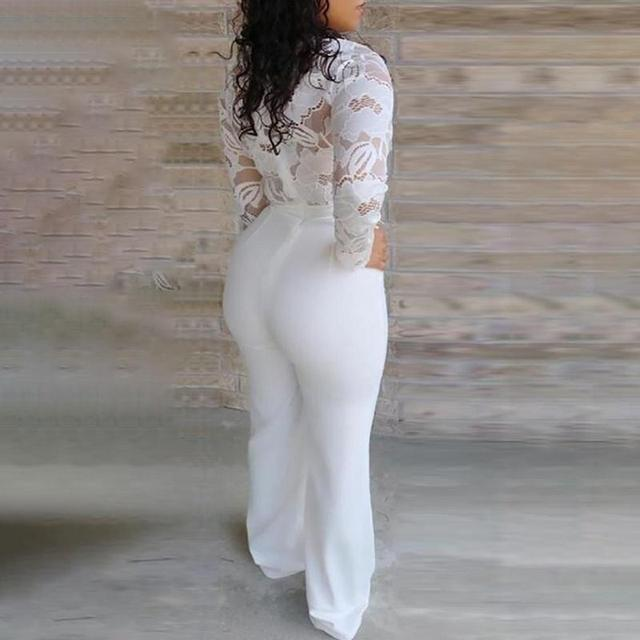 Mono Blanco de encaje con costura para mujer, traje de manga larga con cuello en V de talla grande, pantalones largos de pierna ancha, monos de oficina para mujer, Lugentolo 3