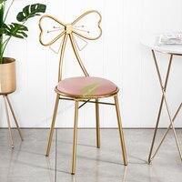 Modern Bar Stool Iron Bar Chair Bar Stool Seat Bar Furniture Beauty Salon Furniture Nordic Teenage Heart Ins Princess Bow Modern