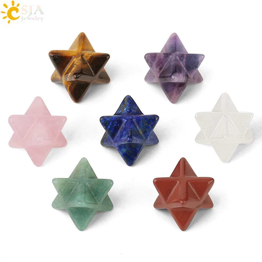 CSJA Merkaba Star Crystal Natural Stone For DIY Jewelry Meditation Chakra Sacred Reiki Healing Energy Protection Decoration G183