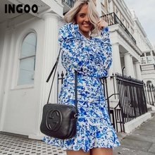 INGOO Blue Backless Print Autumn Dress Women Short 2019 Backless Drawstring Puff Long Sleeve Sexy Ruffle Hem Hollow Out Dresses petal puff sleeve curved hem dress