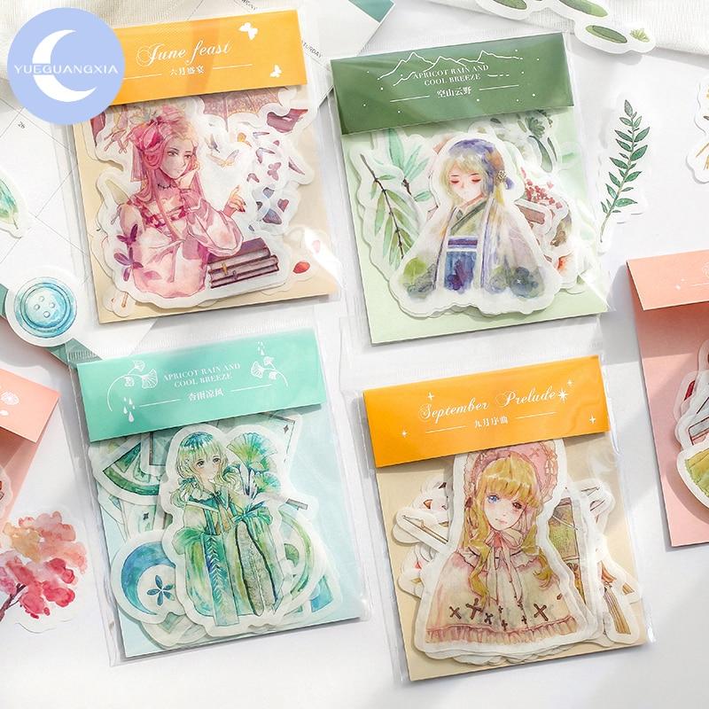 YueGuangXia 2Pcs/lot 8 Designs Chinese Ancient Girl Seasonal Decorative Series Japanese Kawaii Creative Stationery Deco Sticker