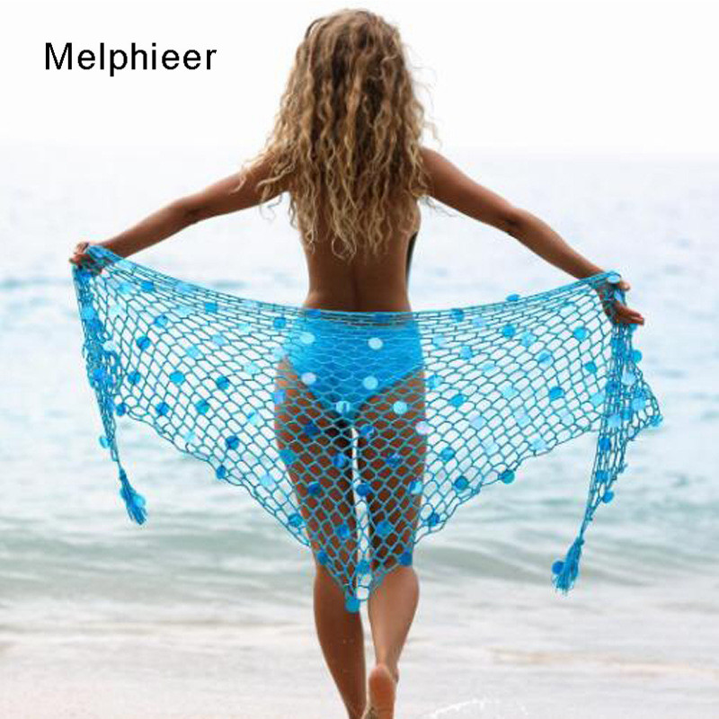 Functional Summer New Beach Crochet Bikini Cover Up Dress 2020 Lady Swimsuit Sexy Cover Ups Fishnet Bright Triangle Scarf Shawl