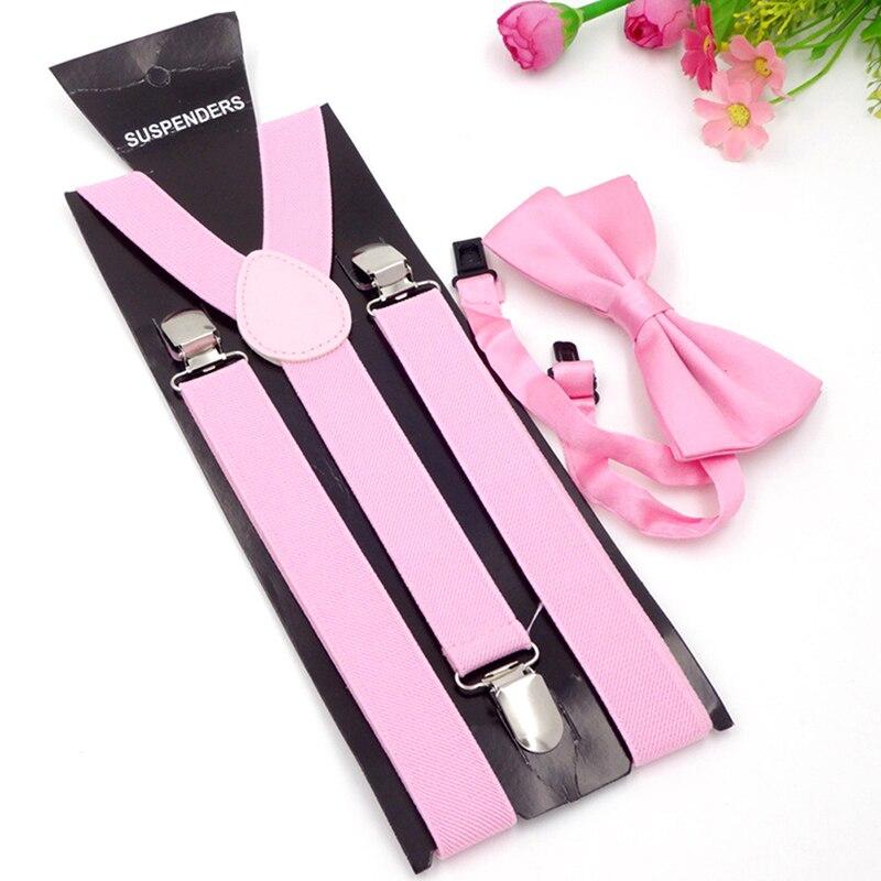 Adult 3 Clip-on Y Back Elastic Suspenders Bowties Set Suspender Braces Neck Ties Brace Belt Strap For Mens