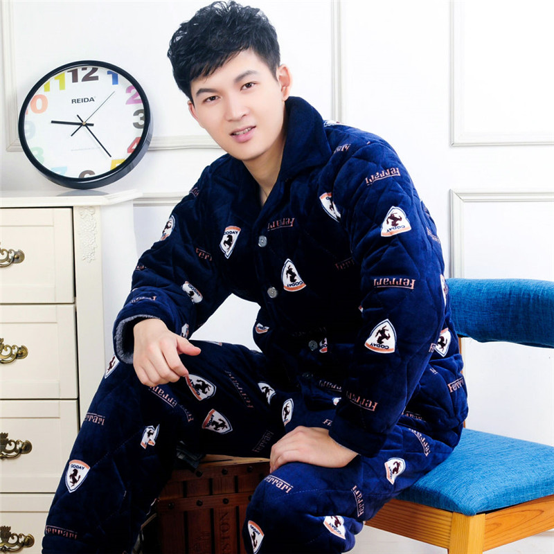 COTTON PAJAMA Men's WinterFleece Male Pajamas Set Polyester Full Trousers Men 2pcs/set Warm Thicken Flannel Home Clothes