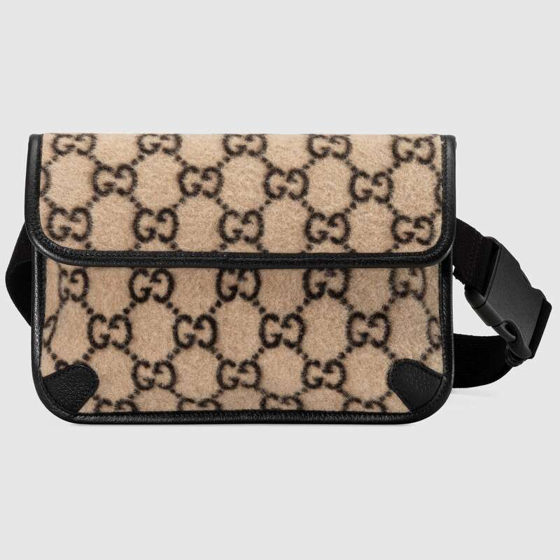 Gucci GG Wool Belt Bag For Womens Waist Bag Fanny Pack PU Bag Belt Purse Small Purse Phone Key Pouch ‎598181 G38FT 9769