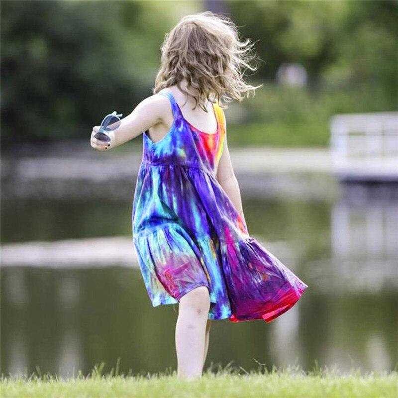 Summer Kids Baby Sleeveless Girls Dress Tie dye Dress Rainbow New Year Party Little Princess Costume Children Beach Clothes 3