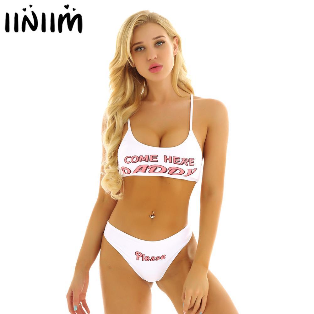 Iiniim das mulheres do sexo feminino verão cintas impresso mini camisola sutiã topos de colheita com cuecas trajes anime sexy streetwear