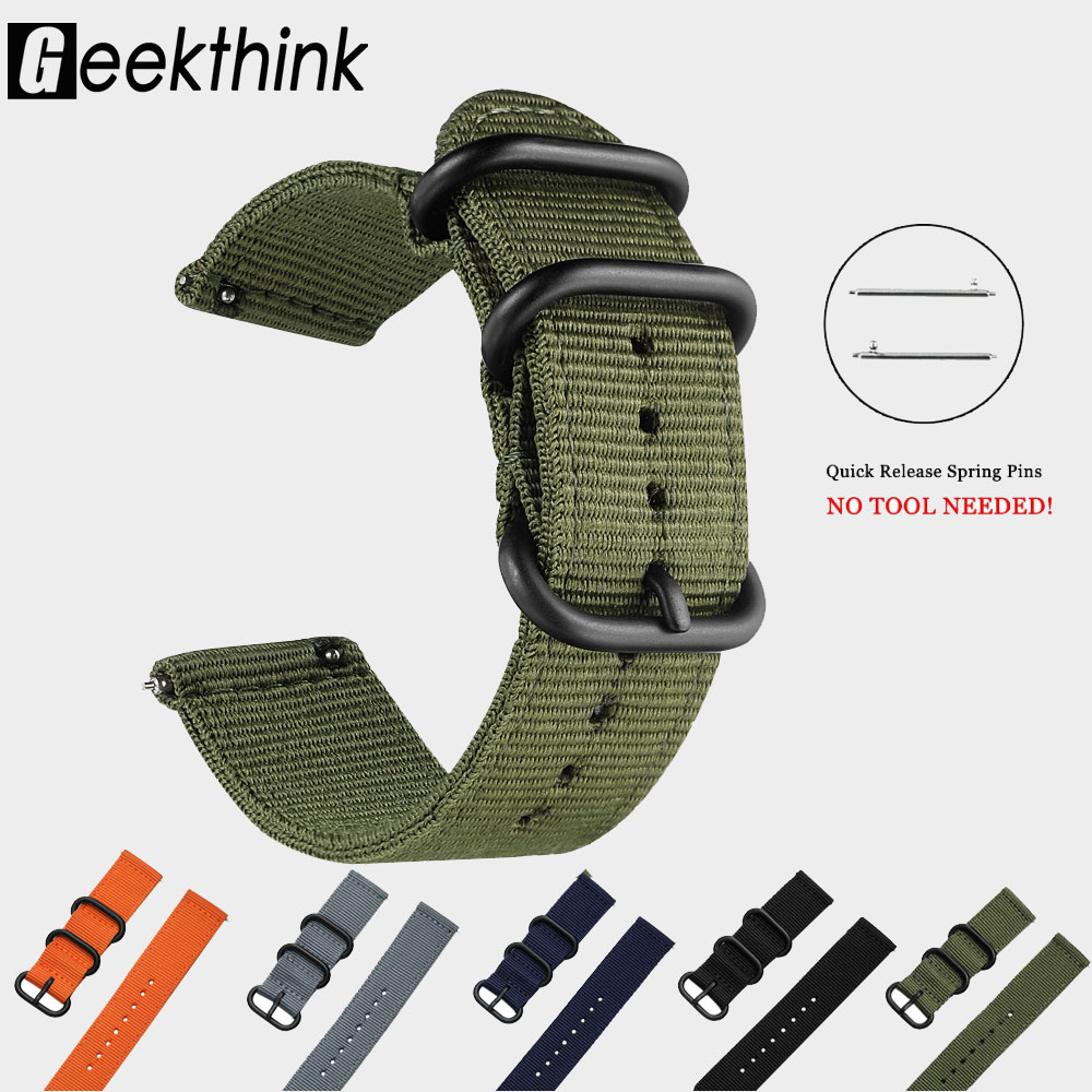18mm 20mm 22mm 24mm Nylon Fabric Watch Bands Sport Strap For Samsung Galaxy Watch Band Gear S3 Bands Amazfit GTR GTS Huawei