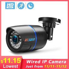 BESDER cámara IP de 2,8mm de ancho 1080P 960P 720P alerta de correo electrónico XMEye ONVIF P2P detección de movimiento RTSP 48V POE CCTV para exteriores