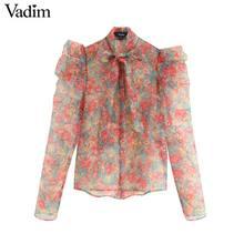 Vadim vrouwen sexy bloemen organze blouse transparante stijl strikje kraag lange mouw vrouwelijke see through chic tops blusas LB311