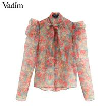 Vadim women sexy floral organze blouse transparent style bow tie collar long sleeve female see through chic tops blusas LB311