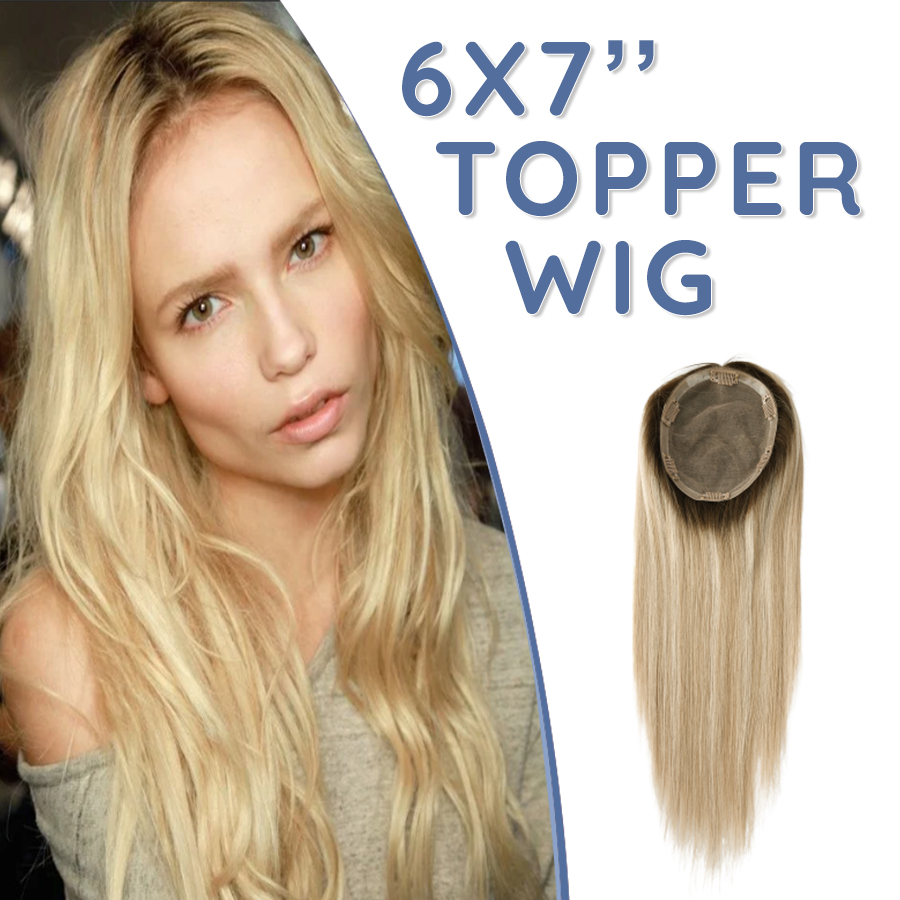 K.S WIGS 14-20'' 15X17cm Silk Base With Clips Hair Topper Wig Fake Scalp 150% Density Virgin Remy Human Hair Topee For Women