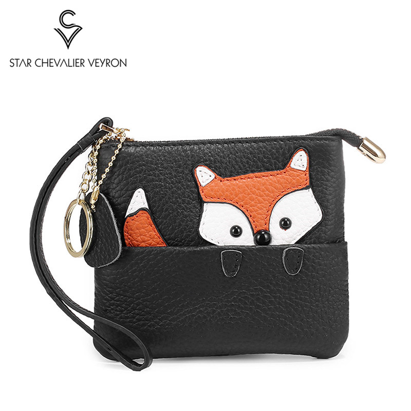 2020 New Fox Pattern Slim Genuine Leather Cute Coin Purse And Card Clip Wrist Small Wallet With Key Ring Ladies Clutch Purse