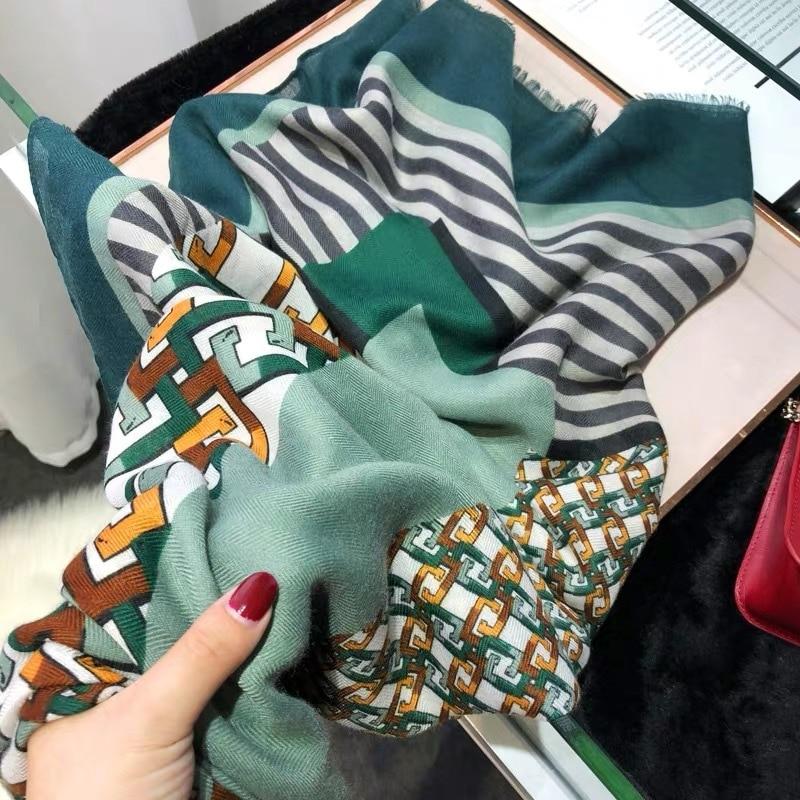 Ladies Spain Fashion Geometric Patchwork Fringe Viscose Shawl Scarf Autumn Warm Soft Pashminas Stole Muslim Hijab Sjaal 180*90Cm