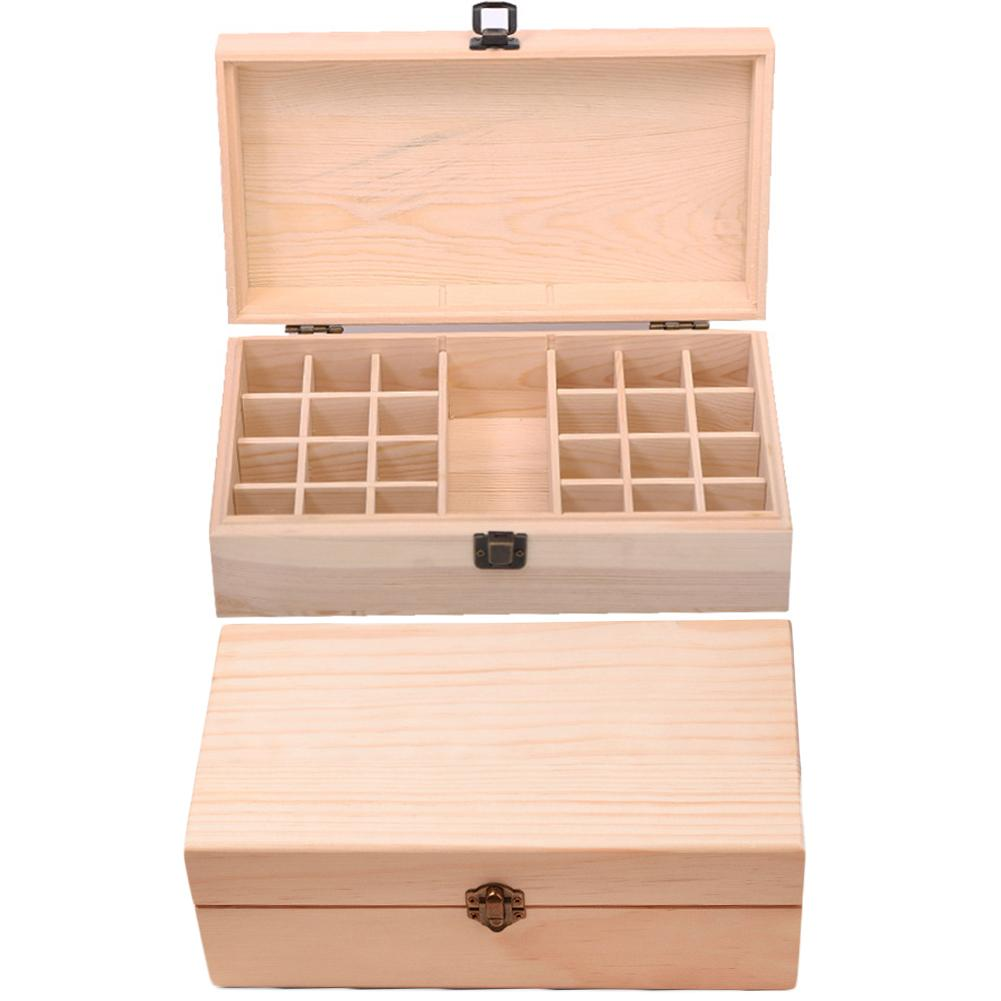 25 Grids Wooden Essential Oil Storage Box Case Holder Container Organizer Carrying Case Aromatherapy Container Toiletry Kits