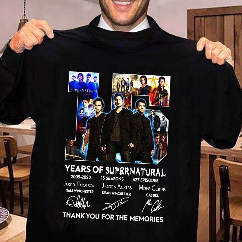 Vintage T Shirt Men Supernatural 15 Years Anniversary Dean Sam Castiel Signatures Printed Tshirt Women Clothing Black Tops Male