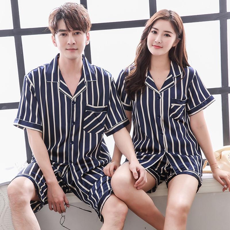 FZSLCYIYI Couple Pajama Sets Silk Satin Pijamas Striped Short Sleeve Shorts Sleepwear Home Suit Pyjama Lovers' Clothes