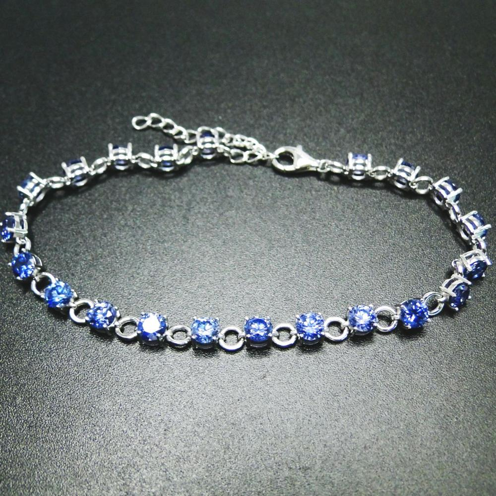 High Quality 100% Real 925 Sterling Silver <font><b>Bracelet</b></font> <font><b>Tanzanite</b></font> CZ <font><b>Bracelets</b></font> for Women Engagement Wedding Jewelry Gift image