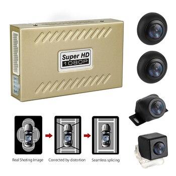 360 ° 1080P visión nocturna Universal coche DVR vista de pájaro sistema panorámico sin costura empalme 4 cámara con Sensor de choque