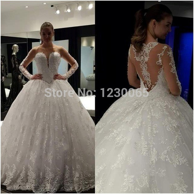 Glamorous Sheer Neck Applique Bridal Gown Backless Lace Long Sleeve Ball Gown 2018 Robe De Mariage Mother Of The Bride Dresses