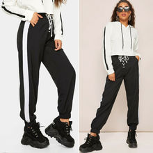 Goocheer Women's Casual Sweatpants Jogger Dance Harem Hip Hop Pants Sports Baggy Stirped StripeTrousers цена